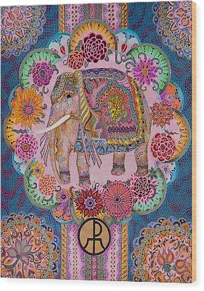 Pink Elephant Wood Print by Ellie Perla
