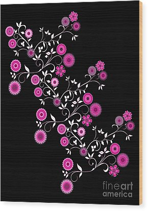 Wood Print featuring the digital art Pink Floral Explosion by Methune Hively