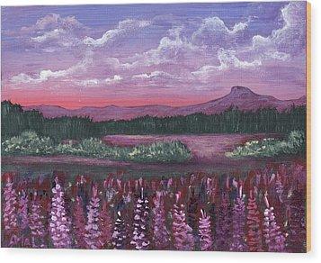 Wood Print featuring the painting Pink Flower Field by Anastasiya Malakhova