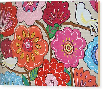 Pink Flowers And White Birds Wood Print