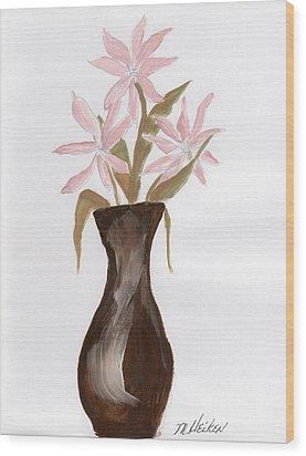 Pink Flowers In Brown Vase Wood Print by Marsha Heiken