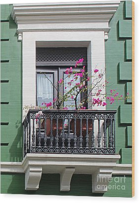 Pink Flowers On Balcony Wood Print