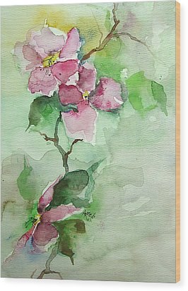 Pink Flowers On Branch Wood Print by Robin Miller-Bookhout