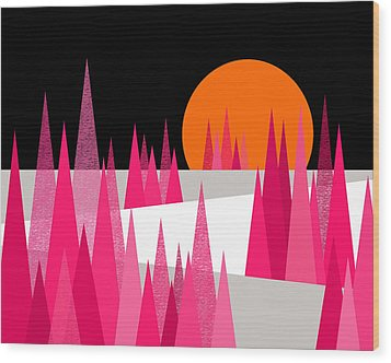 Pink Forest Wood Print by Val Arie