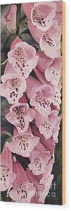 Wood Print featuring the painting Pink Foxglove by Laurie Rohner