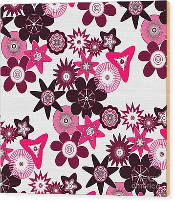 Pink Funky Flowers Wood Print by Methune Hively