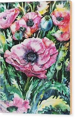 Wood Print featuring the painting Pink Garden Poppies  by Trudi Doyle