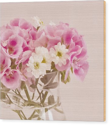Pink Geraniums Wood Print by Sandra Foster