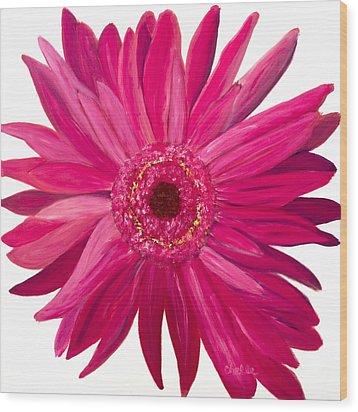 Pink Gerber Wood Print by Chelle Fazal