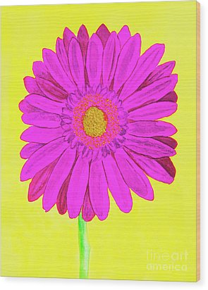Pink Gerbera On Yellow, Watercolor Wood Print by Irina Afonskaya