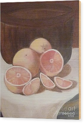 Pink Grapefruit Wood Print by Adrianne  Wagers