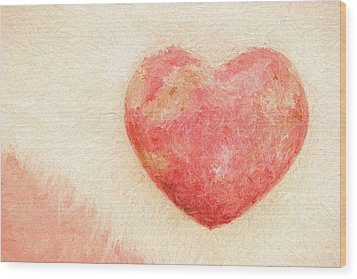 Wood Print featuring the photograph Pink Heart Soft And Painterly by Carol Leigh