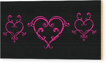 Pink Hearts  Wood Print by Swank Photography