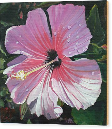 Pink Hibiscus With Raindrops Wood Print by Marionette Taboniar