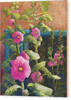 Pink Hollyhocks Wood Print by Candy Mayer