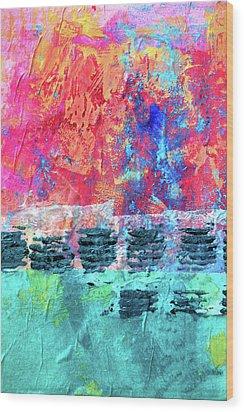 Wood Print featuring the painting Pink Horizon by Nancy Merkle