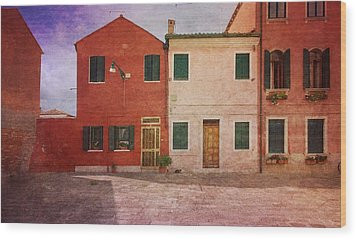 Wood Print featuring the photograph Pink Houses by Anne Kotan
