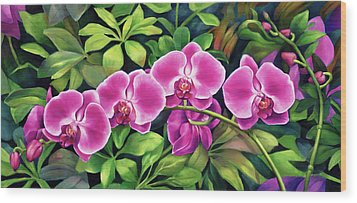 Pink Jungle Orchids Wood Print