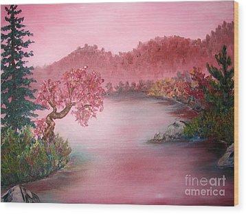 Pink Lake Wood Print by Emily Michaud