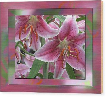 Pink Lily Design Wood Print