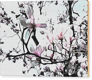 Wood Print featuring the photograph Pink Magnolia - In Black And White  by Janine Riley