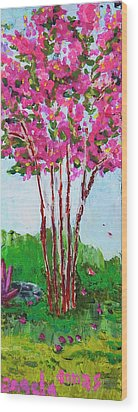 Pink Myrtle Wood Print by Angela Annas