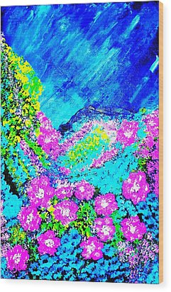 Wood Print featuring the painting Pink N Blue by Piety Dsilva