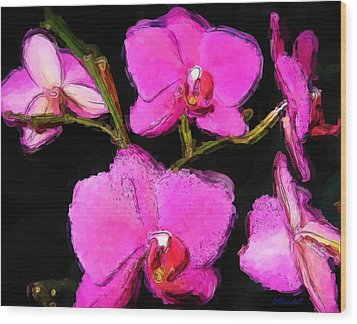 Pink Orchids Wood Print by Dennis Lundell