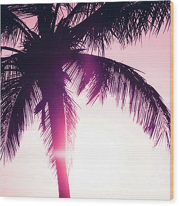Wood Print featuring the photograph Pink Palm Tree Silhouettes Kihei Tropical Nights by Sharon Mau