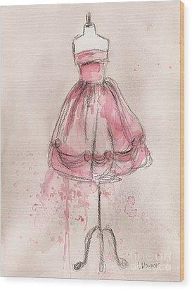 Pink Party Dress Wood Print by Lauren Maurer