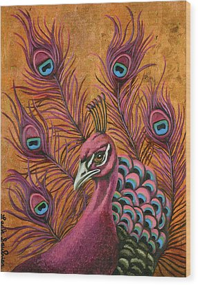 Pink Peacock Wood Print by Leah Saulnier The Painting Maniac