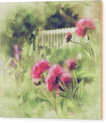Wood Print featuring the digital art Pink Peonies In A Vintage Garden by Lois Bryan
