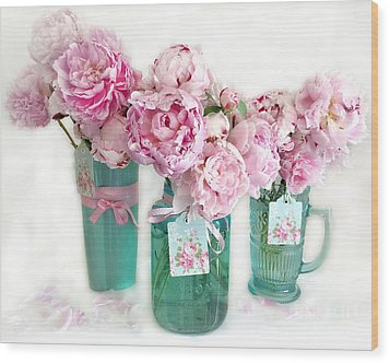 Wood Print featuring the photograph Pink Peonies In Aqua Vases Romantic Watercolor Print - Pink Peony Home Decor Wall Art by Kathy Fornal