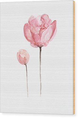 Pink Peonies Watercolor Painting Wood Print