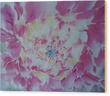 Pink Peony 002 Wood Print by Dongling Sun
