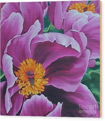 Wood Print featuring the painting Pink Peony by Jindra Noewi