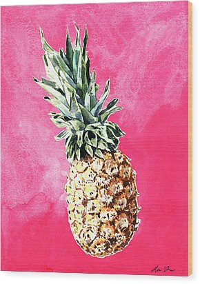Pink Pineapple Bright Fruit Still Life Healthy Living Yoga Inspiration Tropical Island Kawaii Cute Wood Print by Laura Row