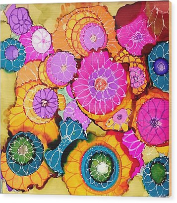 Pink Pinwheel Flowers Wood Print by Suzanne Canner