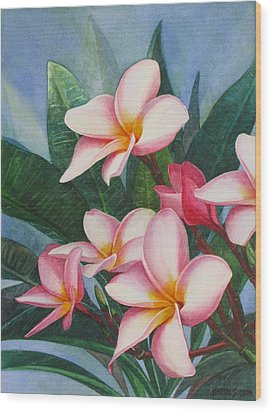 Pink Plumerias Wood Print by Karen  Sioson