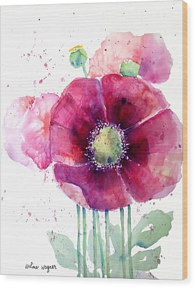 Pink Poppies Wood Print by Arline Wagner