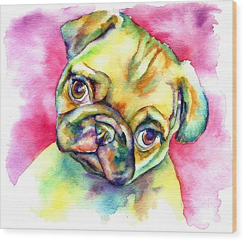 Pink Pug Wood Print by Christy  Freeman