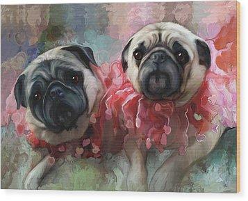 Pink Pug Princesses On Parade Wood Print by Elizabeth Murphy
