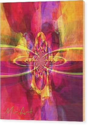 Wood Print featuring the photograph Pink Purple And Yellow by Miriam Shaw