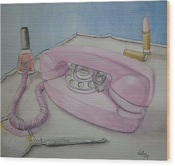 Pink Retro 1960 Telephone Wood Print by Kelly Mills