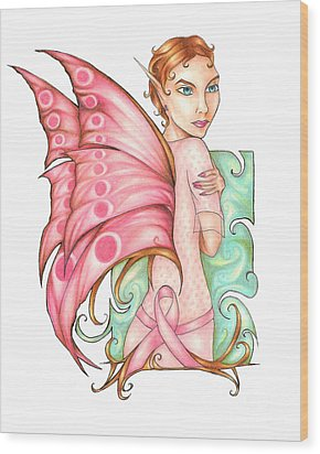 Pink Ribbon Fairy For Breast Cancer Awareness Wood Print
