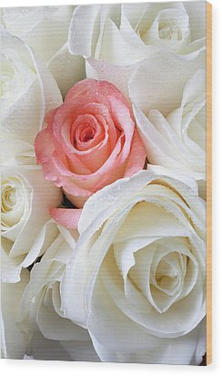 Pink Rose Among White Roses Wood Print