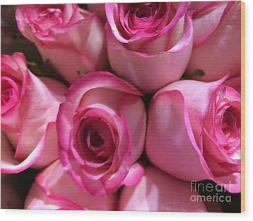 Pink Rose Bouquet Wood Print