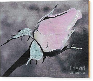 Pink Rose Bud Wood Print by Karen Lewis