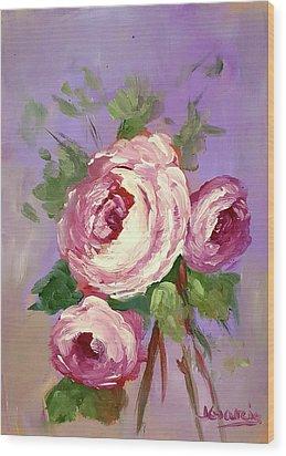 Pink Rose Wood Print by Janet Garcia