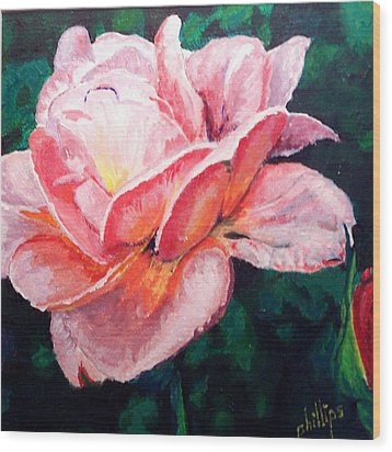 Wood Print featuring the painting Pink Rose by Jim Phillips